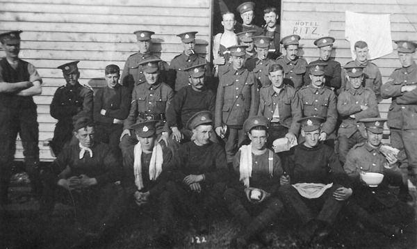 W (Accrington) Company group at Penkridge Bank Camp in 1915. 15224 L/Cpl. Percy Bury is seated third from left on the middle row.