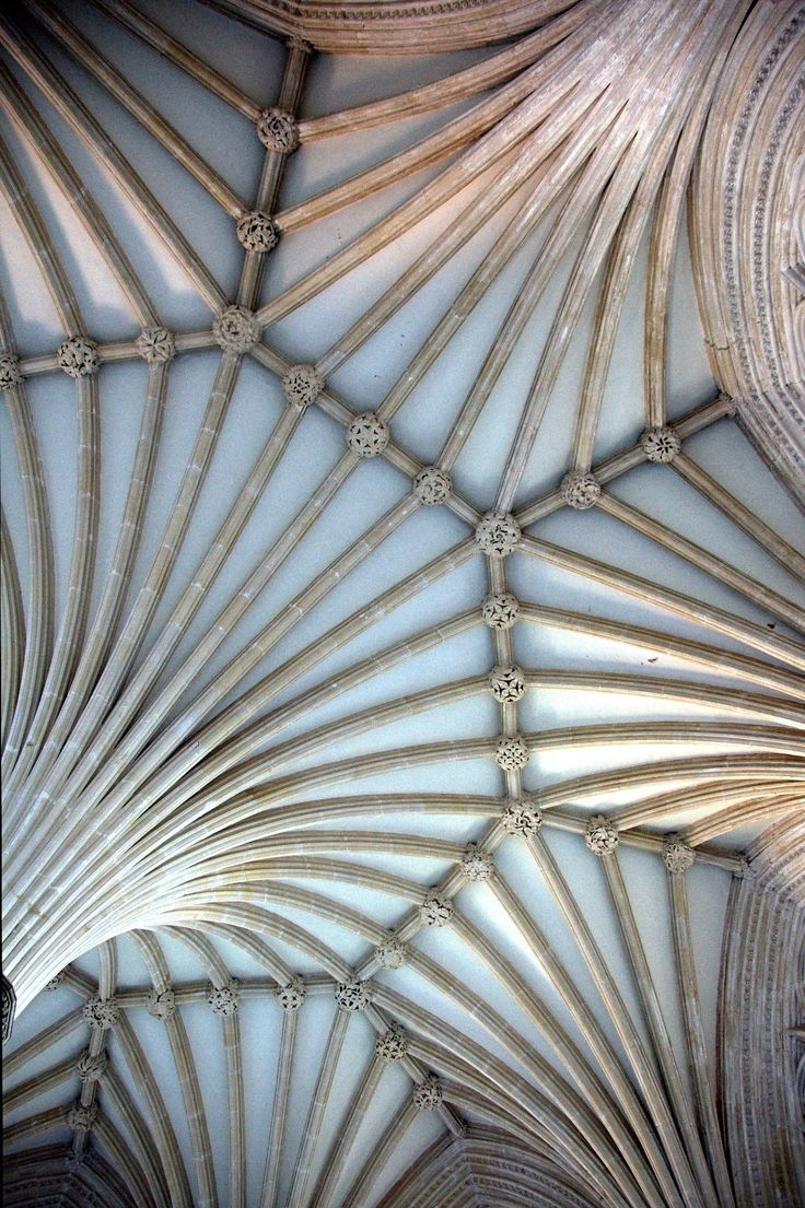 The Chapter House Ceiling, Wells Cathedral, Somerset, UK.
