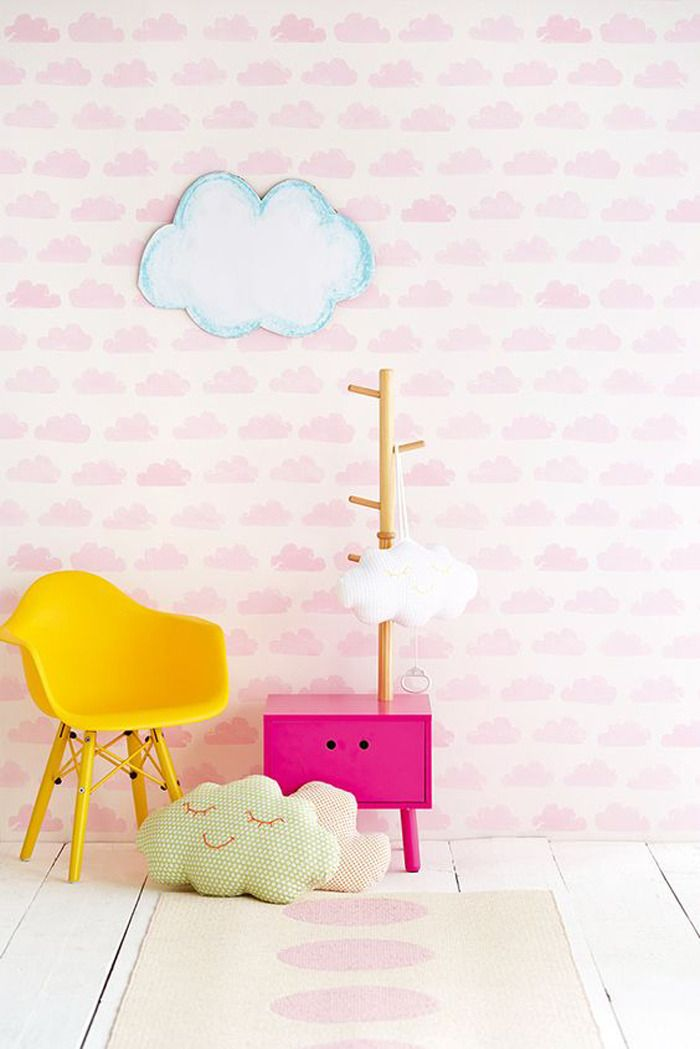 Pretty in pink, this beautiful wallpaper styled by Dutch brand Eiijffinger for their 'Tout Petit' children's collection will provide a calm, pastel setting to show off those amazing brights http://petitandsmall.com/colourful-clouds-rainbow-showers/