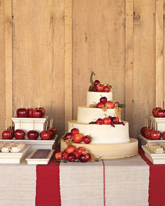The homespun dessert buffet at Liesl and Kevin's October wedding in Franklin, Tennessee, featured a charming three-tier cake covered with white-chocolate maple frosting and decorated with organic apples and currants.