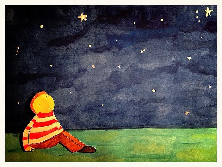 """Ilustracion inspirada en """"How to catch a star"""" de Oliver Jeffers.  #acuarela"""