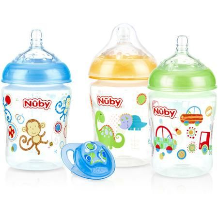 Nuby 3-Pack Natural Touch 9-oz Printed Baby Bottles with Comfort Orthodontic Pacifier, Boy, BPA-Free