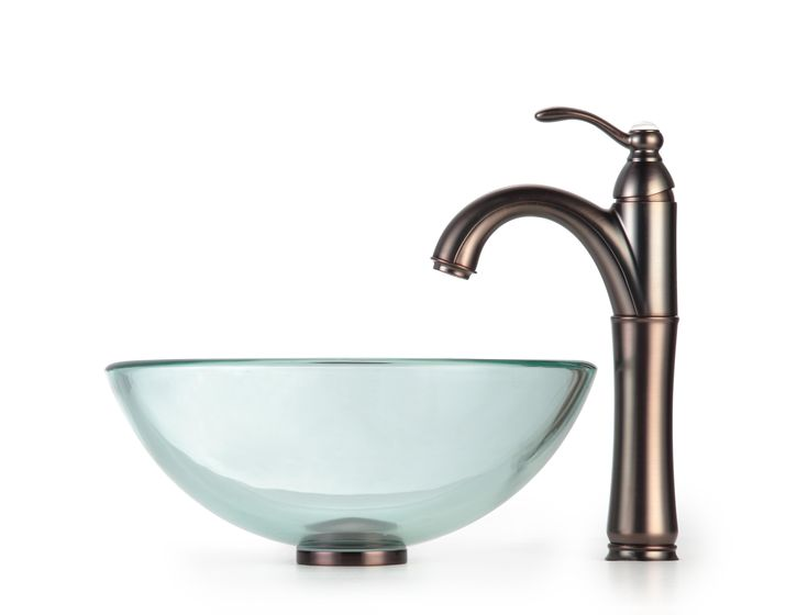 KRAUS Glass Vessel Sink With Single Hole Single Handle Riviera Faucet In  Chrome By Kraus