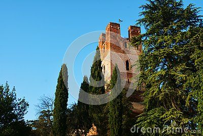 Medieval walls, trees and tower against the blue sky in Castelfranco Veneto, Italy, Europe.
