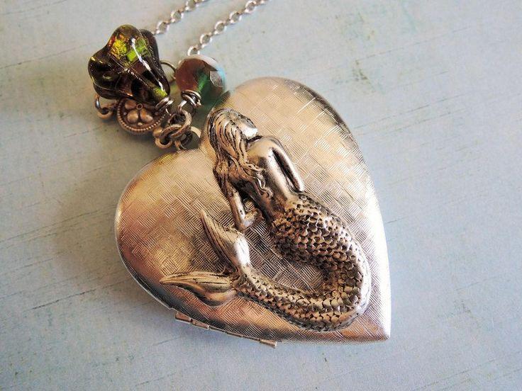 Lockets – Silver photo locket sand and sea mermaid Heart – a unique product by MadamebutterflyMeagan on DaWanda