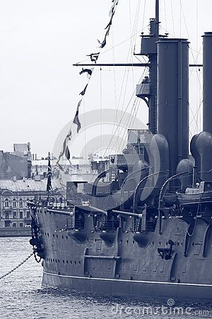Look along the left board of the historic cruiser Aurora on a cloudy day. Saint-Petersburg, Russia
