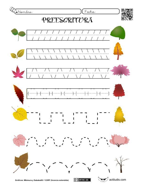 Dos fichas para trabajar la pre-escritura con motivos del otoño -hojas y árboles con distintos tonos del otoño, setas y enanitos) para trabajar en Educación Infantil en el cole o en la casa. Las f...