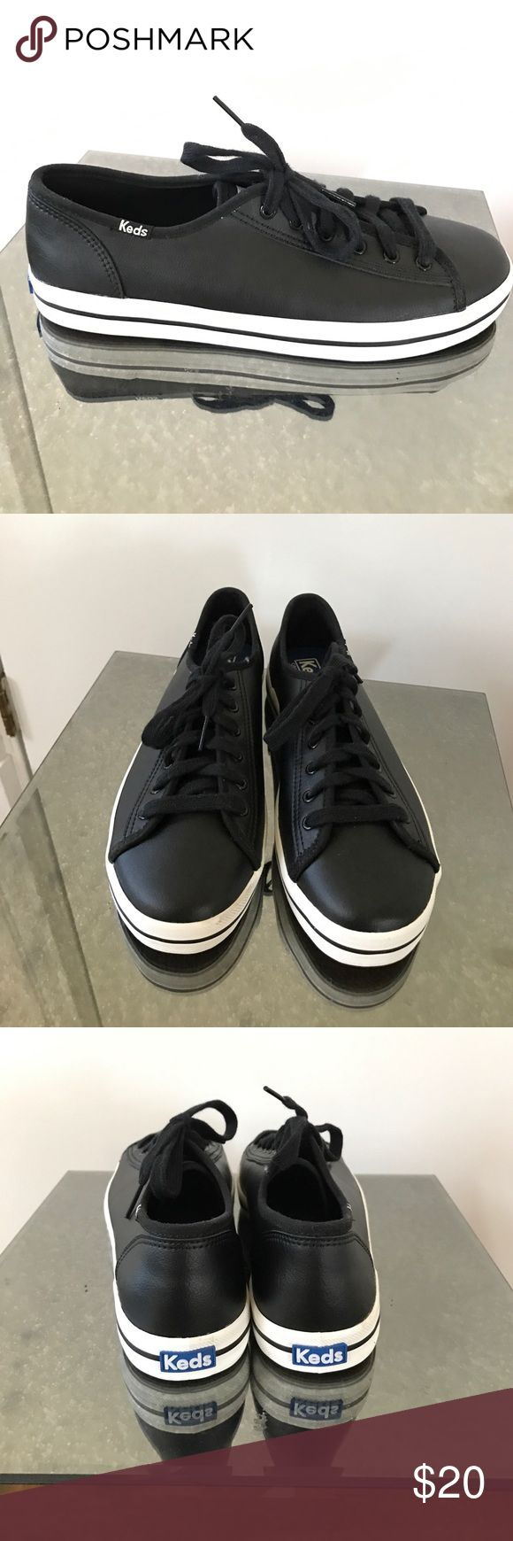 New black leather keds kickstart sneakers 8 Brand new keds in black smooth leather. Does not come with box. Keds Shoes Sneakers