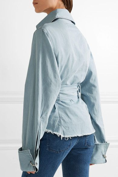 Marques' Almeida - Oversized Frayed Cotton-chambray Shirt - Light denim - medium