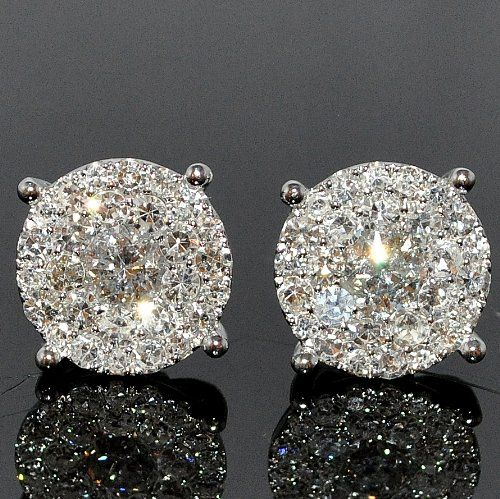 Gorgeous Diamond Stud Earring 1.85ctw XL Big Round Cluster Large Solitaires 11mm Screw bk Metal: White gold 14K Diamonds: 1.85ctw Round diamonds Clarity: SI-I and Near Colorless Weight: 4gms approx Setting: Beautiful Pave setting Measurements: 11mm Wide SKU: MGWSJ-347476 Retail Price: $3,595.00