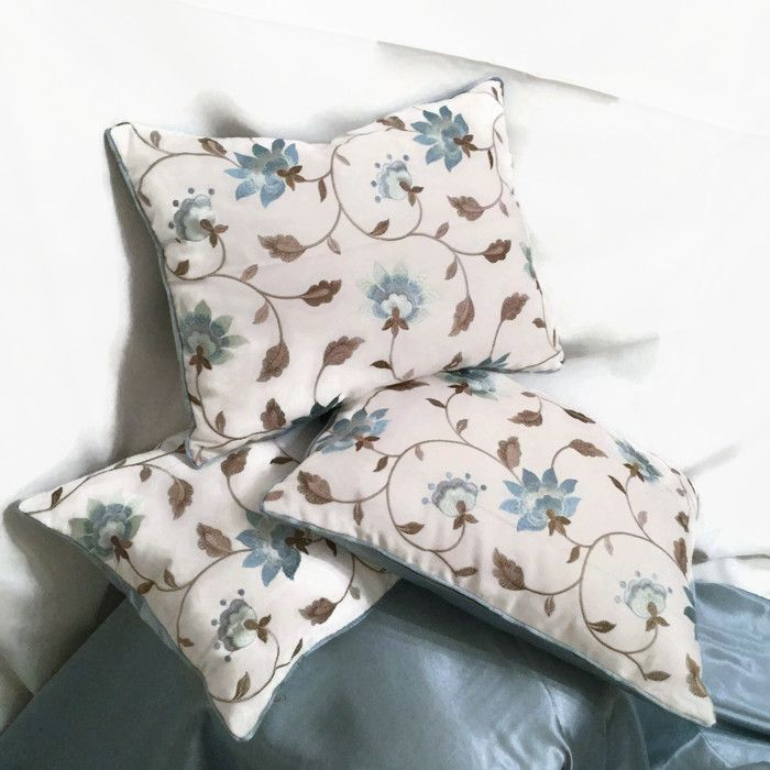 Lavish thread embroidered and silk satin decorative pillow - Oceania luxury pillow by MyCushionBoutique.