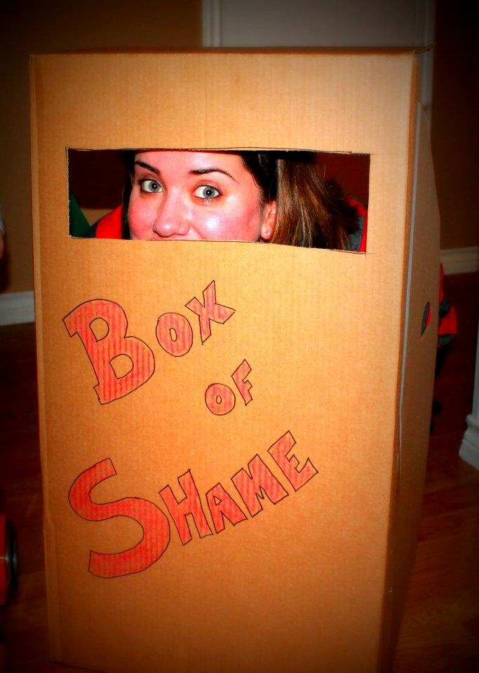 """Despicable Me birthday party box of shame prop (Blessable Me sEries """"the devil wants to keep you in the box of shame"""")"""