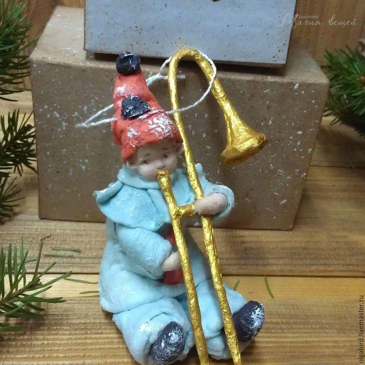 Купить Ватная елочная игрушка МАЛЫШ С ТРУБОЙ - Новый Год, игрушка ручной работы