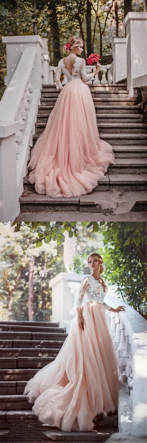 2017 wedding dress, long wedding dress, long sleeves wedding dress, pink wedding dress with white lace top