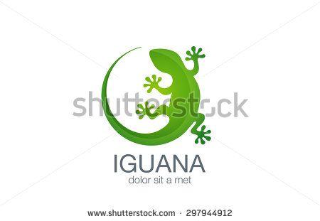 Lizard Logo design vector template. Iguana icon illustration. Salamander logotype. Gecko concept top view.