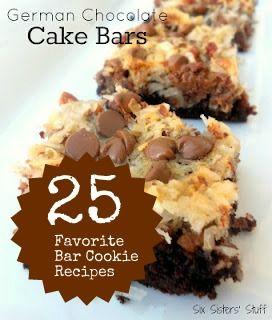 Six Sisters' Stuff: 25 Favorite Bar Cookie Recipes: Desserts Recipes, Cookie Bar, Cakes Bar, German Chocolate Cakes, Bar Recipes, Bar Cookies, Six Sisters Stuff, Cake Bars, German Chocolates Cakes