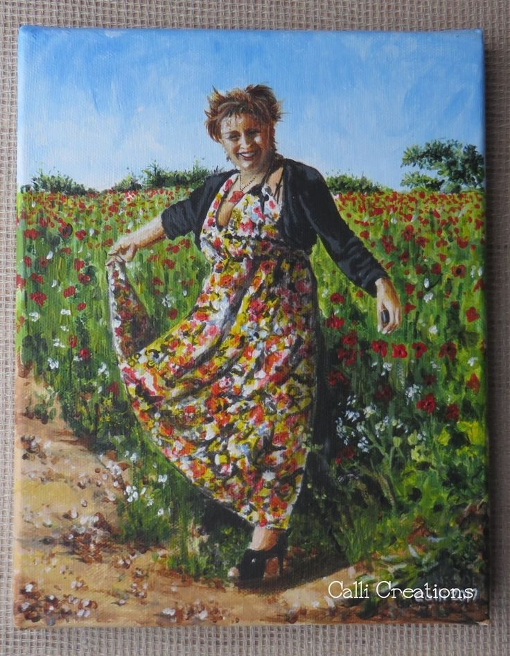 Juliet in a field of poppies.  loved the flamboyant carefree photo of my dear friend, so painted her in acrylics on A5 canvas. it's a loose sketch painting. #acrylics #painting #callicreations #portrait #poppies #flamboyant #poppyfield #summerart #landscape