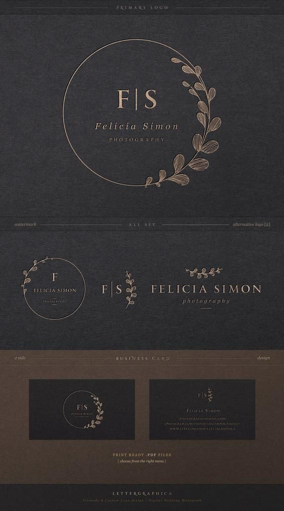 Branding kit, Geometric Logo, Minimalist Logo, Botanical Logo, Premade Branding Kit, Simple Logo, Si