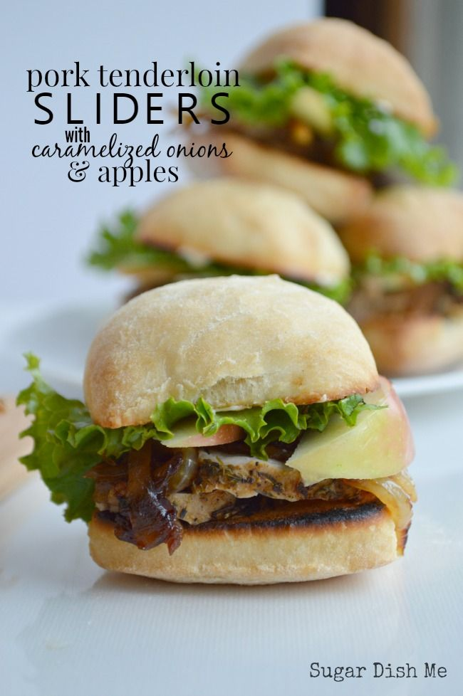 My favorite sandwich this fall! Pork Tenderloin Sliders are stacked high with lean pork, caramelized onions, apples, and a garlic aioli on ciabatta bread.