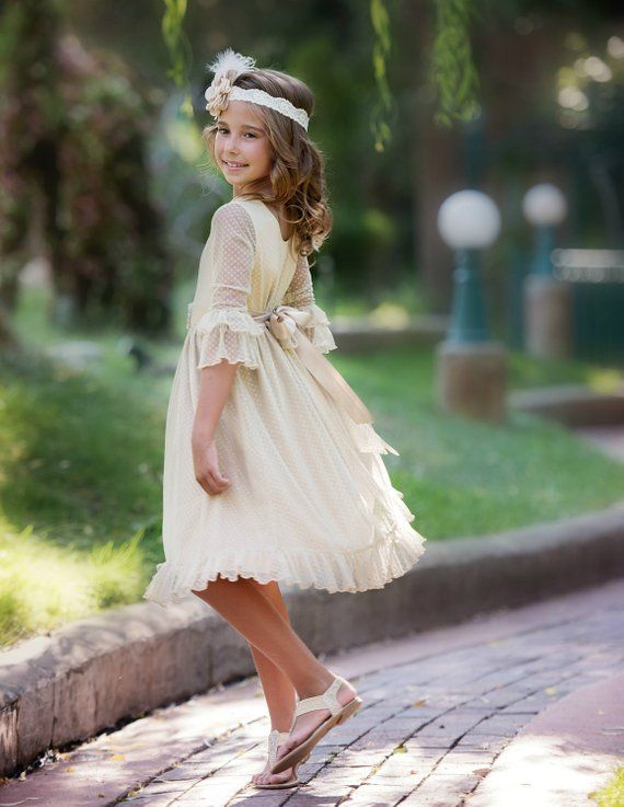 8de563fe4 lace flower girl dress, flower girl dresses,rustic Champagne flower girl  dress,lace baby dresses, country lace dress, toddler dress baby | Flower  Girl ...