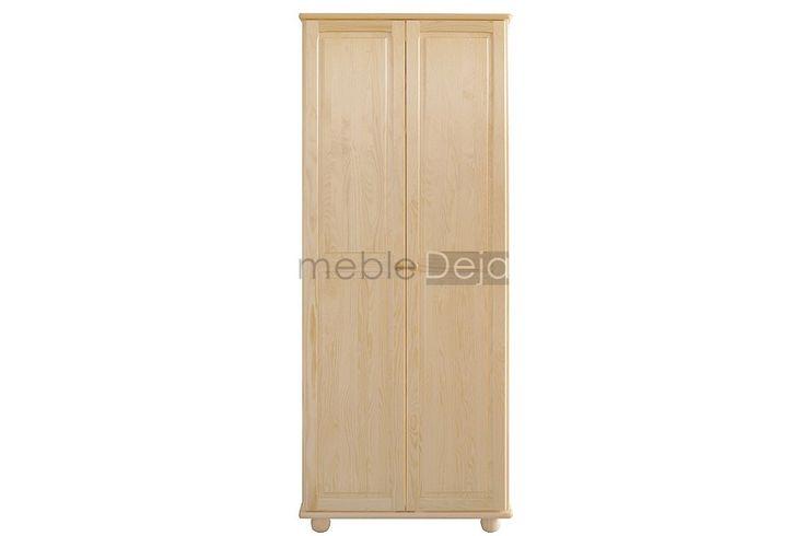 Szafa drewniana sosnowa dwudrzwiowa[9] Szafa wykonana w całości z drewna sosnowego. Jedynie na tyłach i dnach szuflad montowana jest płyta pilśniowa.  Elementy są w 100% drewniane, fronty mebli wykonane są z bezsęcznego drewna sosnowego. W drzwiach zamontowane są zawiasy puszkowe charakteryzujące się dużą wytrzymałością. Uchwyty w formie gałek drewnianych, nogi drewniane. Dostępna w kilku wariantach i pełnej gamie kolorystycznej. Wymiary: szerokość: 80cm lub 90cm, wysokość: 190cm…