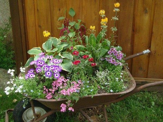 wheelbarrow garden - ideas for front yard area
