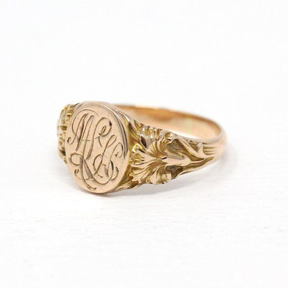 Antique Signet Ring Art Nouveau 10k Rosy Yellow Gold 3 Signet Signet Ring Fabulous Jewelry