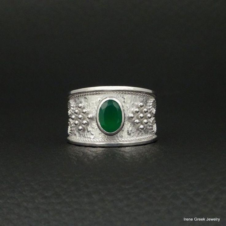 RARE NATURAL GREEN ONYX BYZANTINE 925 STERLING SILVER PLATINIUM PLATED RING #IreneGreekJewelry #Band