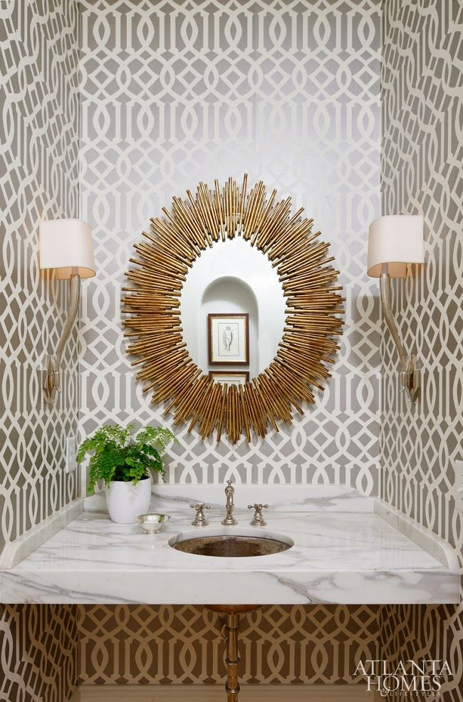 Imperial trellis wallpaper and starburst mirror | Mix and Chic: Home tour - A chic and elegant family home in Atlanta!
