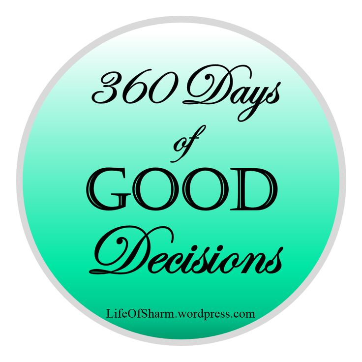 Week 1 of 360 Days of Good Decisions is complete and while it hasn't been perfect, I am really proud of the progress I have actually made. Visit lifeofsharm.wordpress.com for more.