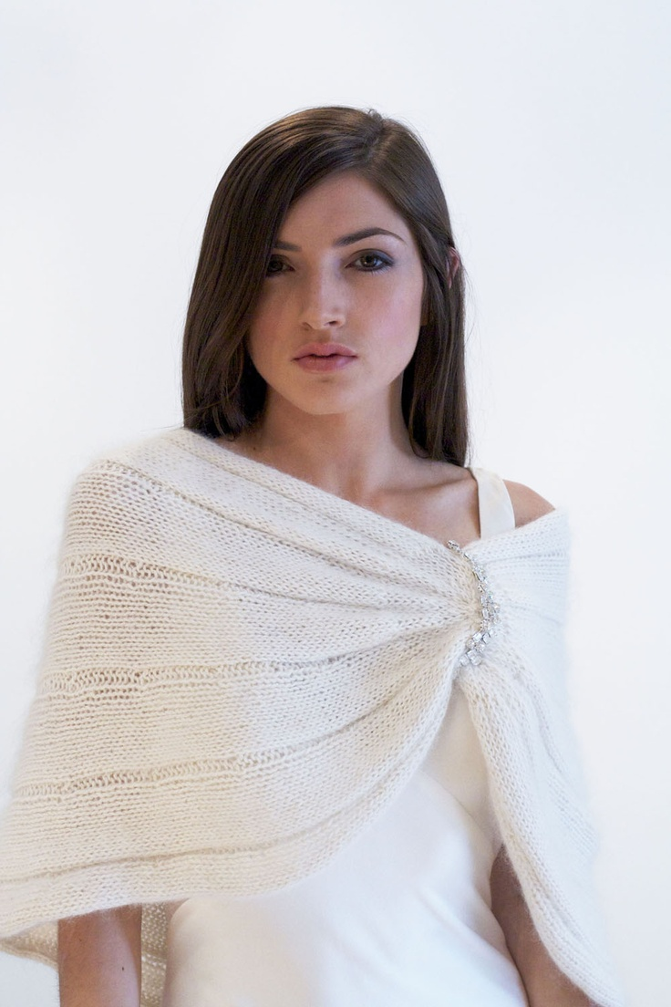 A knit capelet for a winter bride...by  SARAH JANKS - Bridal Couture -
