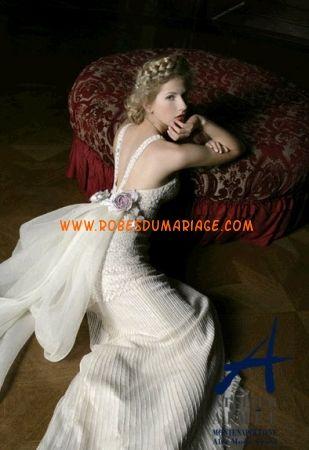 Atelier Aimée boutique robe de mariée glamour longue originale avec bretelles organza