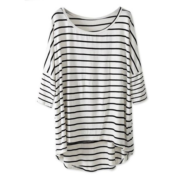 White Black Striped Batwing Sleeve Oversized Tee ($17) ❤ liked on Polyvore featuring tops, t-shirts, shirts, blusas, stripe tee, black and white t shirt, oversized t shirts, stripe t shirt and striped shirt