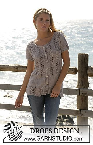 Ravelry: 100-14 cardigan with short sleeves knitted in lace pattern