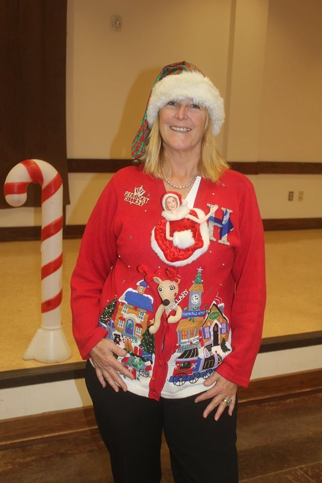 Loser of the ugly Christmas Sweater Contest, Kelly Jacobs made ...
