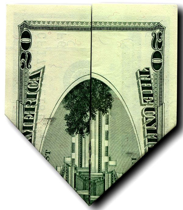 This video shows how to fold a 20 dollar bill so that one side features an image that looks like the WTC and the other looks like the Pentagon after the attacks on 9/11.