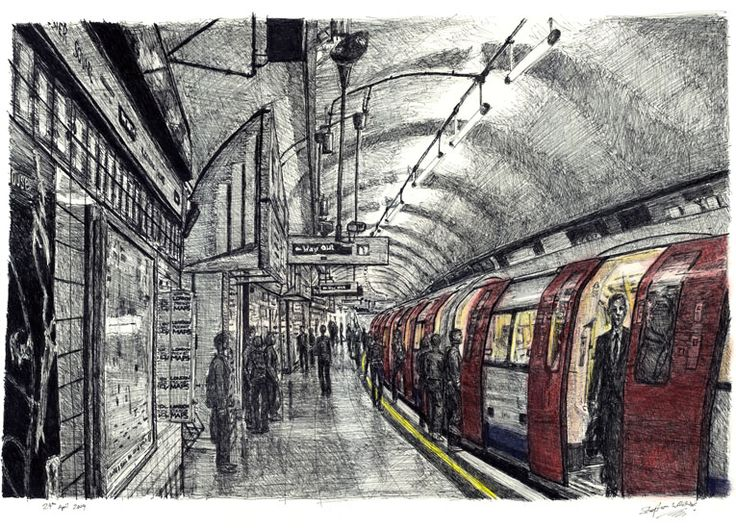 Leicester Square Tube station, London - drawings and paintings by Stephen Wiltshire MBE