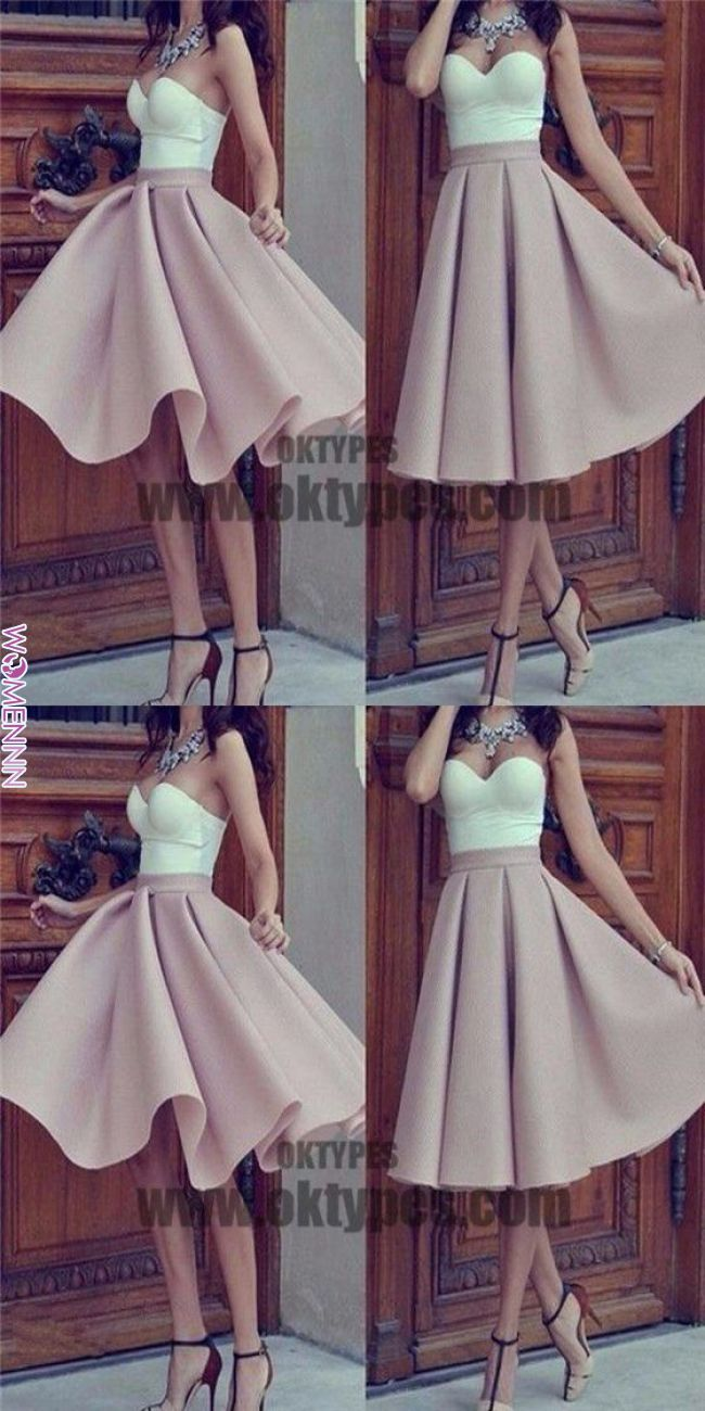 Strapless sweetheart unique mismatched simple homecoming prom gown