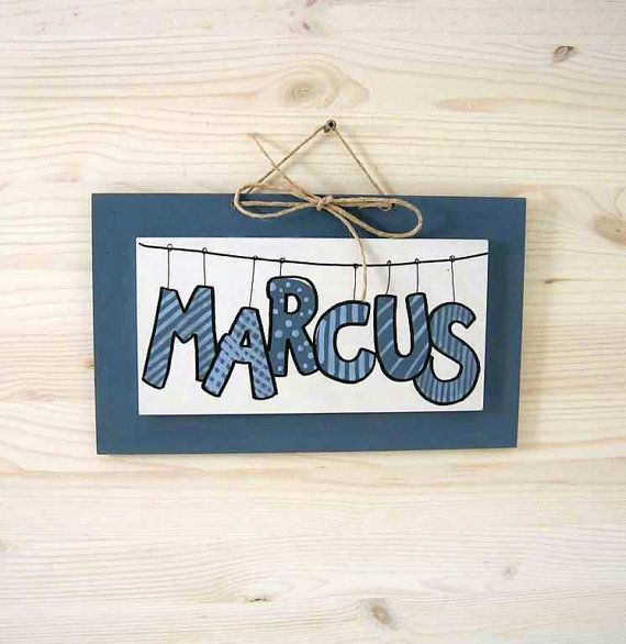 MARCUS blu/grey and whiteChildren's Wall Names by bluepeppertime