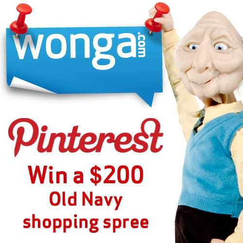 Follow us on Pinterest and repin 5 pins for a chance to win a $200 Old Navy shopping spree!  >>http://pinterest.com/wongacanada/  Contest ends Aug 31. Canada only.  #winwithwonga