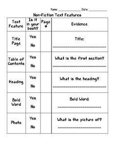 Nonfiction Text Features Graphic Organizer