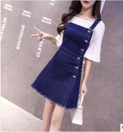 #DenimDress Women Single Breasted High Waist Blue Color Sleeveless Mini a-line D…