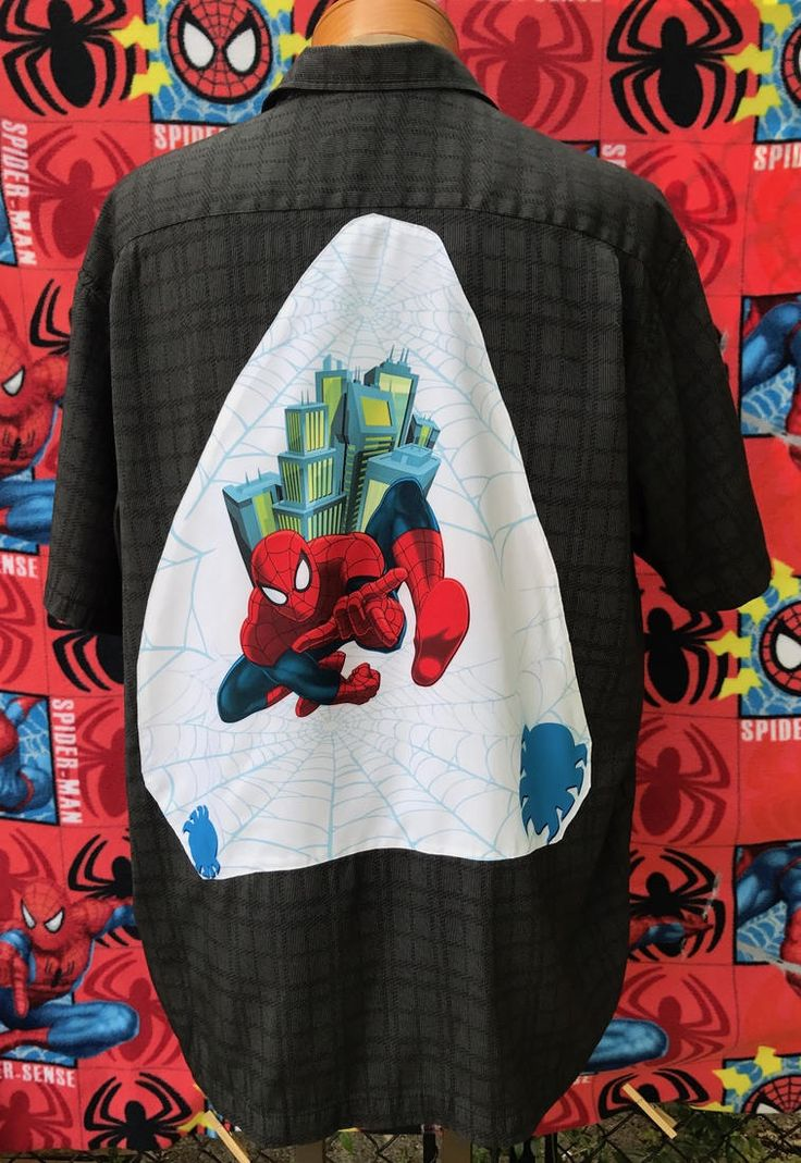 Spider Man Shirt- Spider Man Tee Shirt- Super Hero Shirt- Comic Shirt- Geek Shirt- Nerd Shirt- Vintage 2007 Marvel Fabric- Eco- Size XL by MBReinventionCouture on Etsy