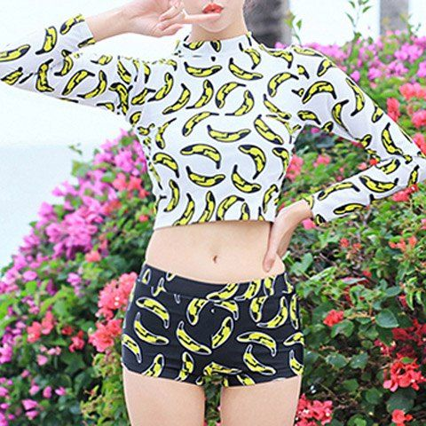 Women's Sexy High Neck Long Sleeve Print Tankini Two Piece Swimwear - WHITE 2XL