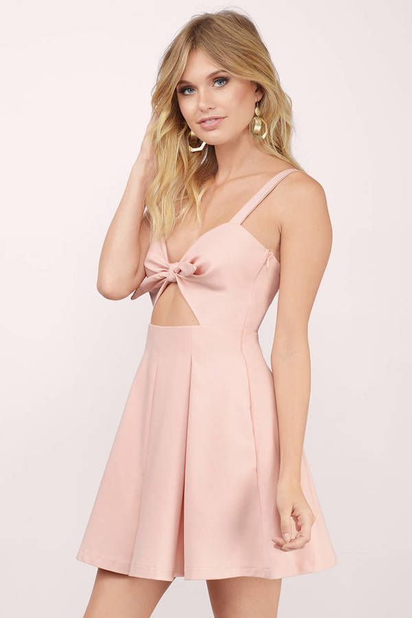 "Search ""Lola Blush Skater Dress"" on Tobi.com! keyhole midriff cutout open back sweetheart tie front bow cami thick strap skater peach coral bridesmaid wedding column low back simple minimal bridesmaids cute sweet timeless classy cheap affordable save money for women dresses guest stylish fashionable elegant modest maxi midi mini long"