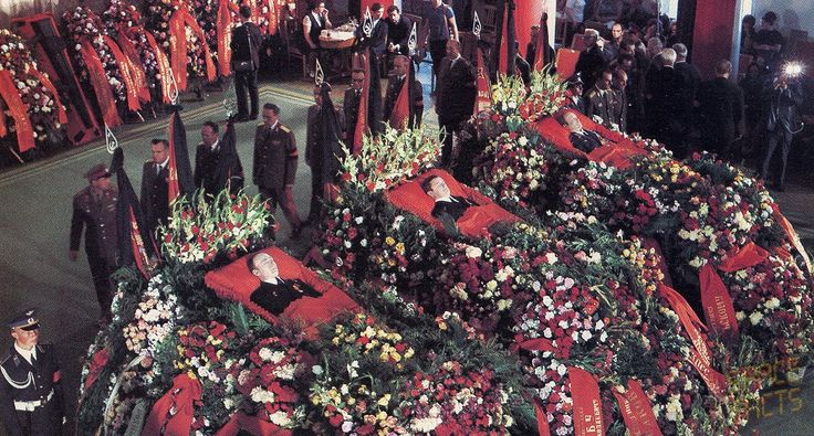 Funeral for the members of Soyuz 11, the first crew to the world's first space station, who died during reentry. Among the pallbearers was astronaut Tom Stafford, Commander of Apollo 10. July, 1971.