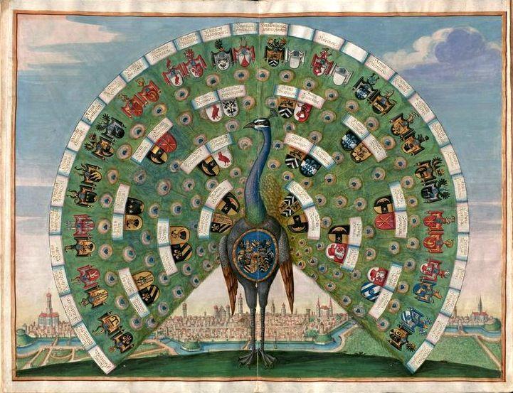 «Stammbuch des Philipp Hainhofer», Philipp Hainhofer, Staats- und Stadtbibliothek Augsburg, 1626, Augburg [BSB Cim 66] -- f°5v-6r: Ahnentafel Philipp Hainhofers -- Picture from: http://www.flickr.com/photos/bibliodyssey/5389599178/in/photostream -- See more at: http://daten.digitale-sammlungen.de/~db/0005/bsb00057492/images/index.html