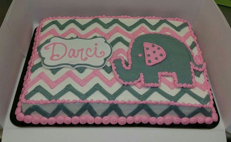 Pink and gray baby shower sheet cake in buttercream with gumpaste plaque