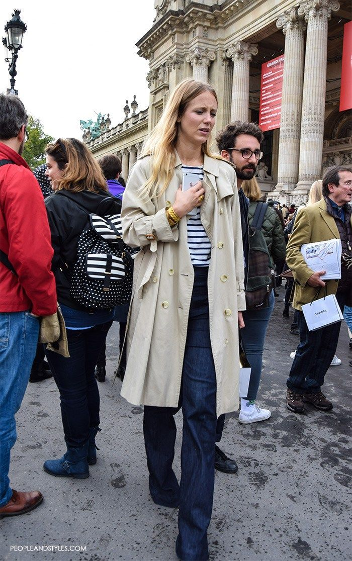 Jennifer Neyt's Look: French Editor Way to Wear a Wide Leg Jeans and Stripe Sweater