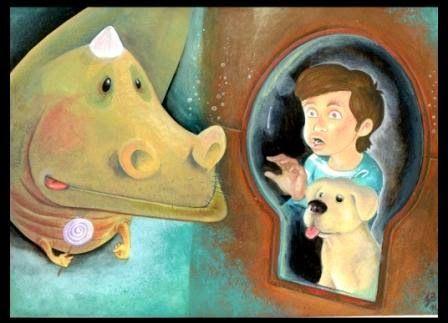 My Head illustrated: Peppino scopre il mostro marino (ciao marino...) - acrilici e matite